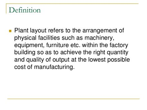 product layout design definition plant layout production management