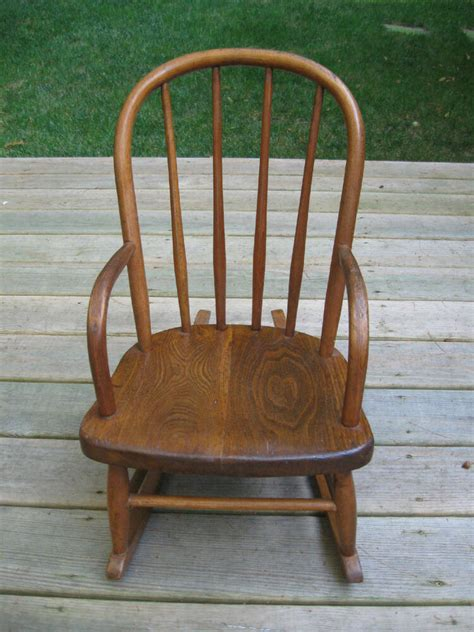 Childs Chair - toddler small childs antique bentwood oak rocking chair w