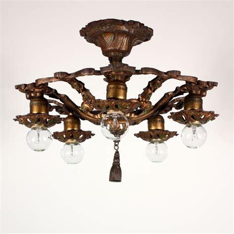 Fabulous Antique Semi Flush Mount Five Light Chandelier Semi Flush Chandelier