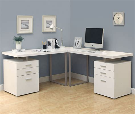 white 3pc hollow l shaped desk set in cappuccino