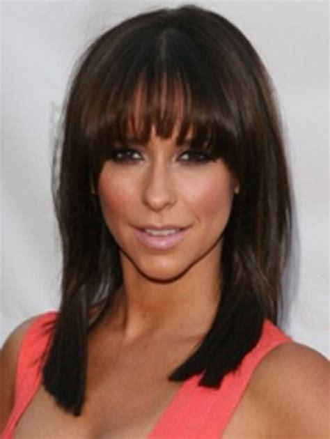 shoulder length hairstyles for fine dark hair shoulder length haircut with bangs