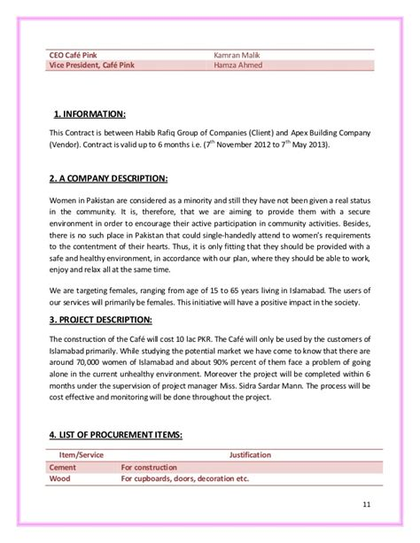 Small Business Agreement Template cafe construction project report