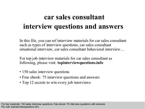 car questions and answers free car sales consultant interview questions and answers
