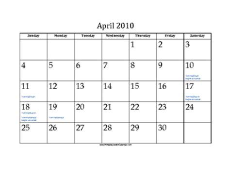 April 2010 Calendar April 2010 Calendar With Holidays
