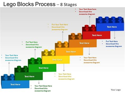 Lego Blocks Flowchart Process Diagram 8 Stages Powerpoint Slides And Ppt Templates 0412 Work Flow Chart Template Powerpoint