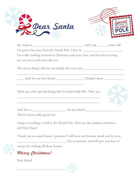 printable blank santa letters 18 best holiday christmas kids stuff images on pinterest