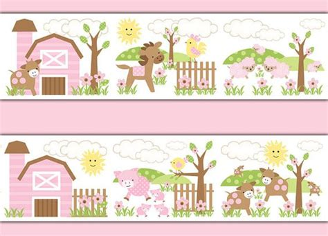 pink borders for bedrooms pink farm nursery decals wallpaper border girl barnyard
