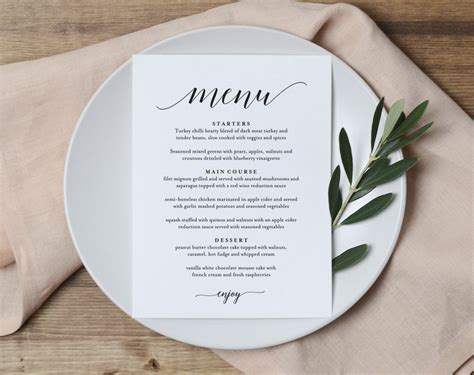 menu place cards template wedding menu printable template from bliss paper