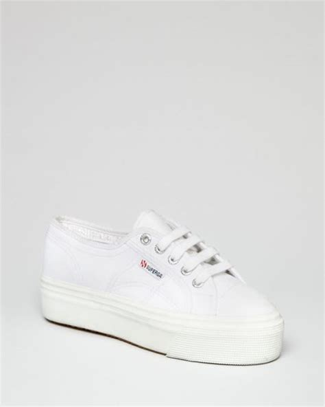 superga white platform sneakers superga lace up platform sneakers in white lyst