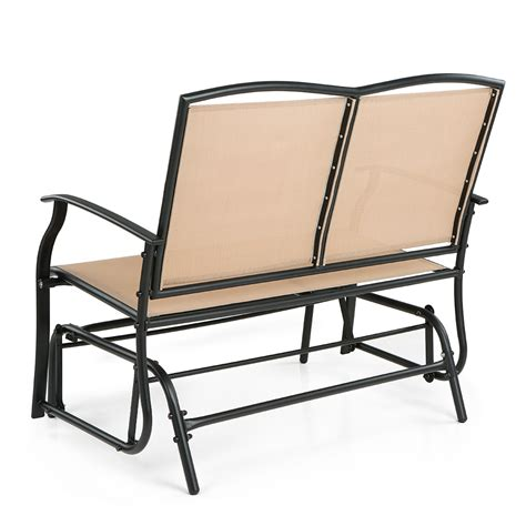 Patio Swing Chairs Beige Ikayaa 2 Person Patio Swing Glider Bench Chair Lovdock