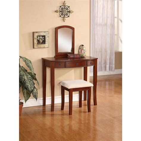 cherry home decor linon home decor molly 2 piece cherry vanity set 58028chy 01 kd u the home depot