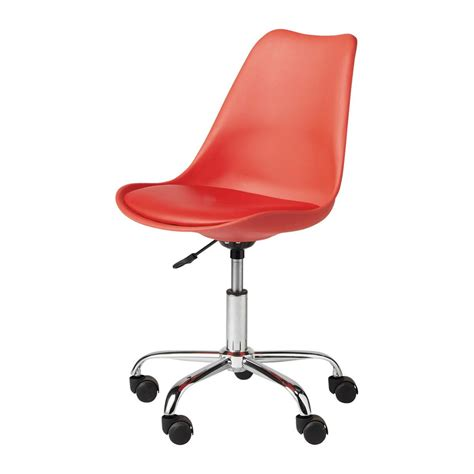scrivania rossa sedia da scrivania rossa a rotelle bristol maisons du monde