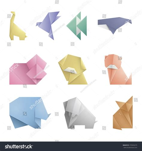 collection of 10 simple origami symbol icon of animals