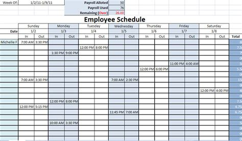 works schedule template printable work schedule printable work schedules