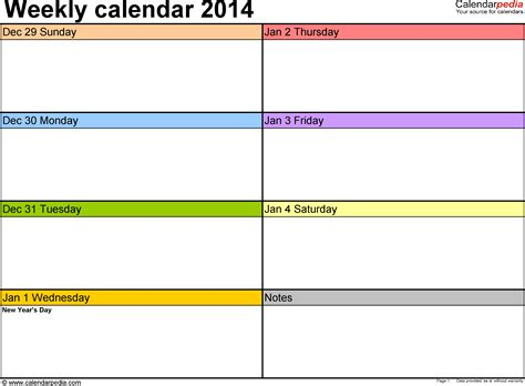 weekly calendar template 2014 excel weekly calendar 2014 for excel 4 free printable templates