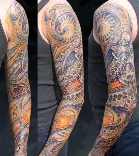 biomechanical bones tattoo guy aitchison tattoos color bio organic bone sleeve