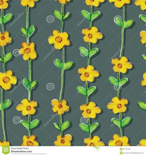 yellow watercolor pattern yellow flower watercolor seamless pattern stock vector