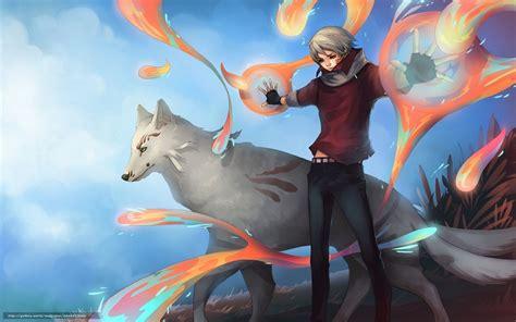 wallpaper anime man hd download wallpaper art guy wolf magic free desktop