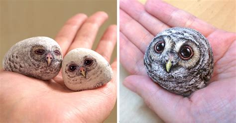 Pet Rock Snowy artist paints remarkably lifelike animals using stones as the canvas