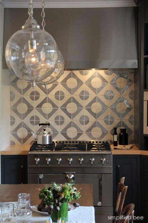 geometric pattern kitchen tiles designer navy grey kitchen with geometric terra cota tile