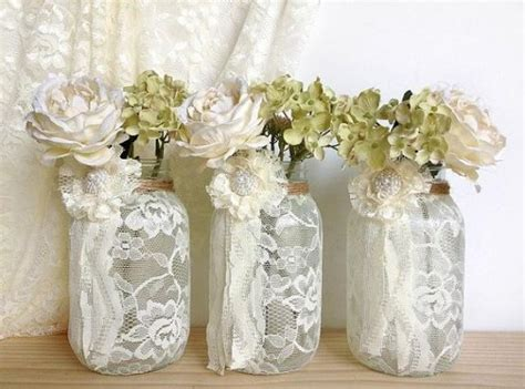 bridal shower table decorations with jars 3 ivory lace covered jar vases bridal shower decoration wedding decor home decoration gift