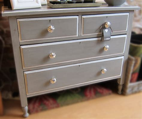 Silver And White Bedroom - grey painted edwardian chest of drawers
