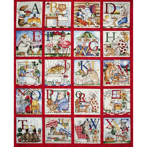 Quilting Fabric Panels hungry animal alphabet 36 quot panel discount designer fabric fabric