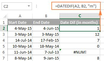 excel datedif calculating date difference in days, weeks