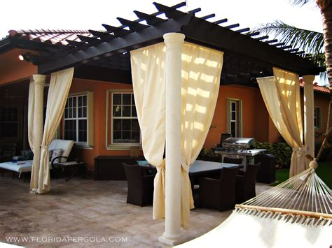 Pergola With Curtains Traditional Pergola With Sunbrella Curtains Florida Pergola