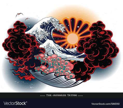 japanese tattoo landscape royalty free vector image