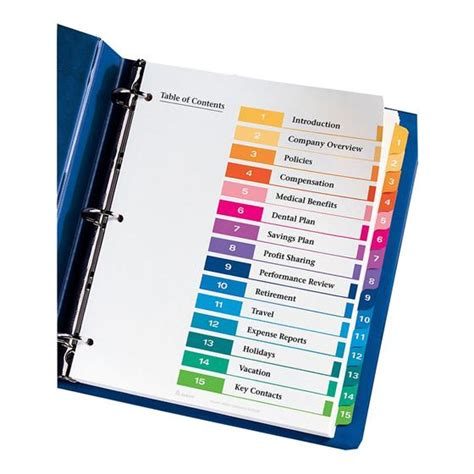 avery ready index 15 tab template avery 11143 ready index 1 15 multi color tabs 1 set