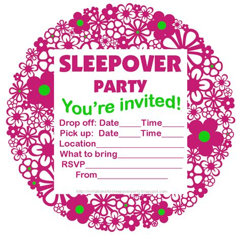 sleepover invitation template sleep invitations templates free