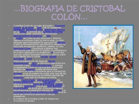 biografia cristobal colon resumen biografia de cristobal col 243 n