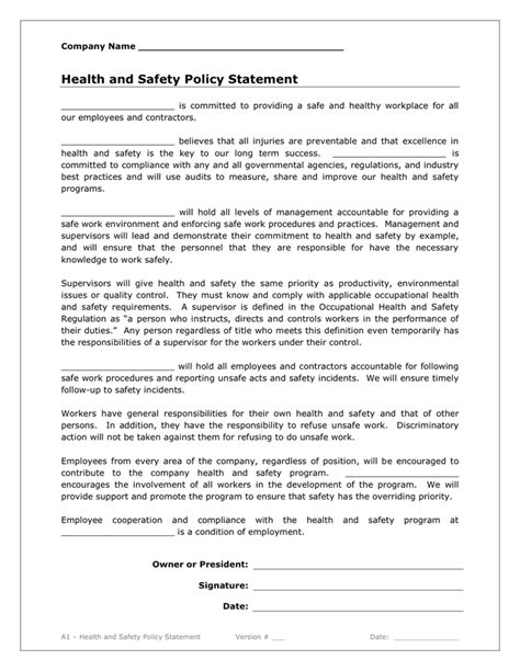 health and safety policy health and safety policy statement in word and pdf formats