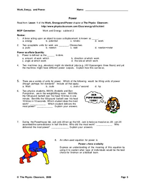 Work Power And Energy Problems Work Energy Power Worksheet Lovesongdesigns