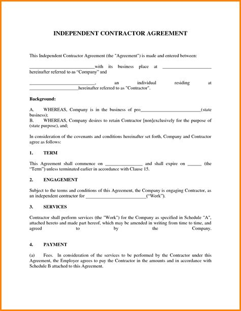 independent contractor agreement free template independent