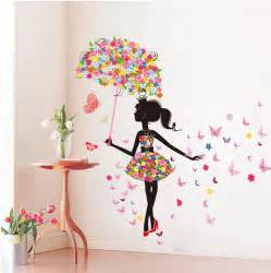 Girls Bedroom Wall Stickers wall stickers pvc large wall sticker pink girl butterfly bedroom wall