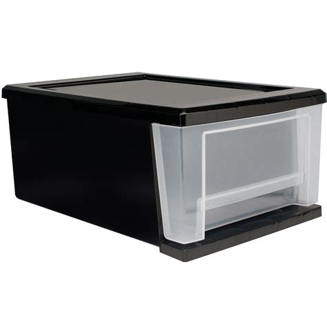 Plastic Drawers by Stackable Plastic Storage Drawers Black In Storage Drawers
