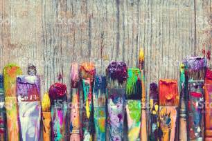 painting free row of artist paint brushes closeup on wooden