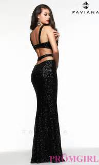 Image of faviana sequin open back gown 7509 style fa 7509 front image