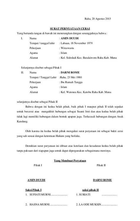 format surat pernyataan nikah 8 contoh surat pernyataan cerai terlengkap contohsuratmu com