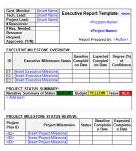 executive summary project status report template best photos of executive project status report template