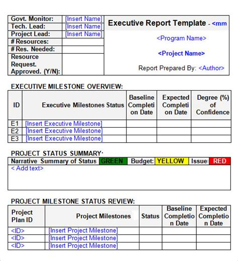 project status executive summary template best photos of executive project status report template