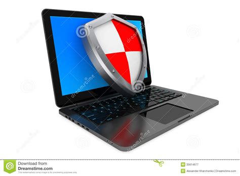 Anti Virus Laptop antivirus concept laptop computer protected by shield royalty free stock photography image