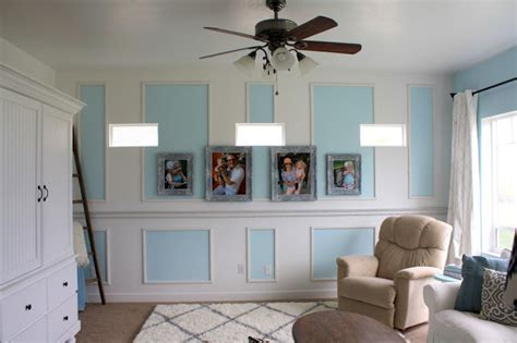 wainscoting living room nifty thrifty momma our home tour living room reveal
