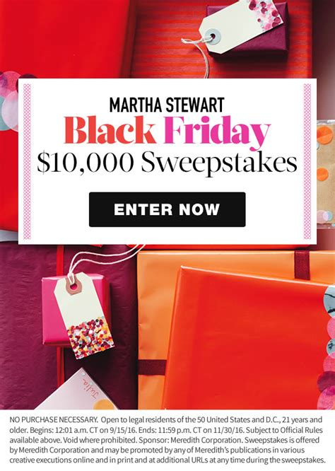 Parents Black Friday Sweepstakes - martha stewart splash black friday 10 000 sweepstakes martha stewart