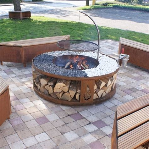easy diy pit with grill pit is a accent for your backyard