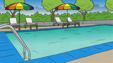 swimming pool clipart a swimming pool at a hotel background vector clip