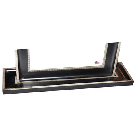 floor mirror black silver caged trim frame dcg stores