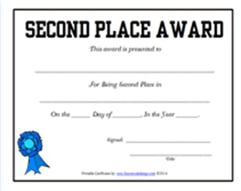 place award certificate template free printable second place award certificates